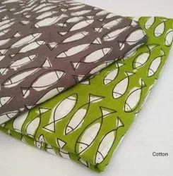 Fish Print Hand Block Cotton Fabric