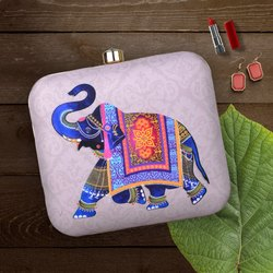 Elephant Printed Evening Clutch Bag