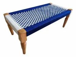 Blue and White Wooden Hand Woven Center Table