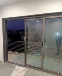 Aluminium, Glass Silver Rectangular Aluminium Sliding Door, For Home, Interior