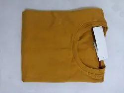 Plain 2 Way Lycra Yellow Sports T Shirt, Size: Large