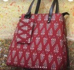 Printed Cotton Fabric Hand Bag