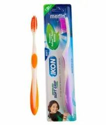 Medium Plastic Merlin Ikon Soft Grip Toothbrush, For Tooth Cleaning