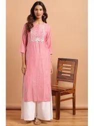 Janasya Women''s Pink Rayon Kurta With Palazzo (J0129)