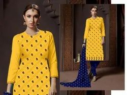 Yellow Cotton Printed Stitched Suit