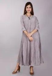 Plain Grey Rayon One Piece Dress