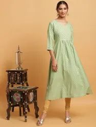 Janasya Women''s Light Green Poly Crepe Kurta (JNE3612)