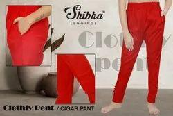 Ladies Red Cigar Pant