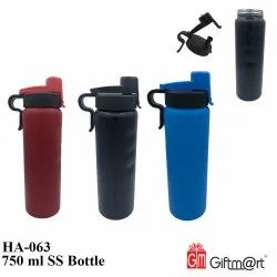 Giftmart Stainless Steel 750 Ml Ss Water Bottle, For Gym, Round