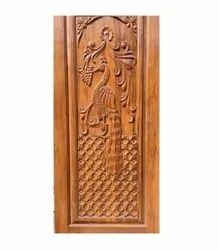 Peacock Carved Wooden Door, For Home