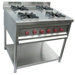 Stainless Steel Four Burner Gas Stove, For Restaurant