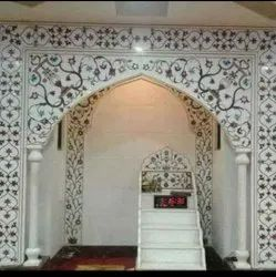 Glossy Indoor White Marble Mosque, For Wall Tiles