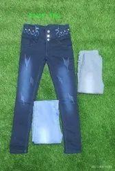 Regular Button Printed Blue Ladies Denim Jeans