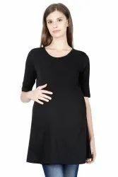 Half Sleeve Round Ladies Black Maternity T-Shirt, Size: Large