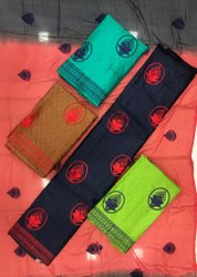 Embroidered Green Cotton Phulkari Unstitched Suit, Plastic Bag