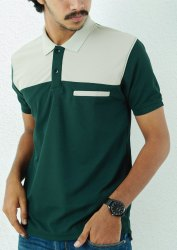 Polo Neck Green and White Men Half Sleeve T Shirt, Size: Medium
