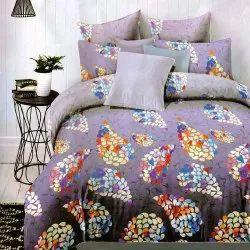Femesta紫色棉印花双层床单,家用,尺寸:90 X 100英寸