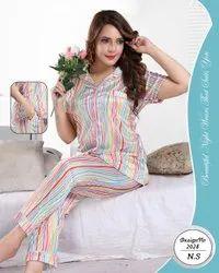 Female Printed Satin Night Suit