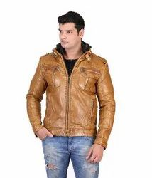 Full Sleeve Solid Dng Leather Jacket For Mens