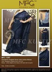 Georgette Drapped Saree With Cotton Blouse