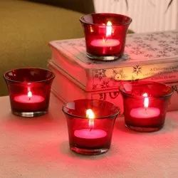 Red 6.3 X 6.3 X 4.5cm Glass Candle
