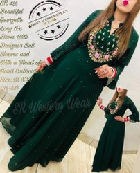 Aadga Long Designer Dress with Bell Sleeves