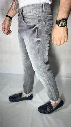 Denim Plain Mens Gray Slim Fit Jeans, Waist Size: 28inch