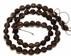 Smokey Quartz Multiple Faceted Round Shaped Natural Gemstone Bead (Light)-10MM-15.5 Inch Strand-