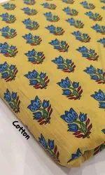 Printed Yellow Hand Block Cotton Printed Fabric