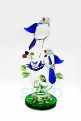Multicolor Glossy Glass Bird With Egg, For Interior Decor