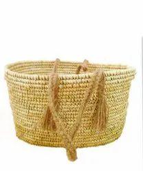 Natural Handled Handicraft Sabai Sea Kauna Grass See Through Multipurpose Bag, Size: 12