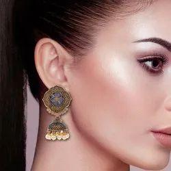 Zinc Alloy ( Base) Pearl,Stone Blue Women Oxidized Flower Shaped Jhumka Earring, For Party Wear