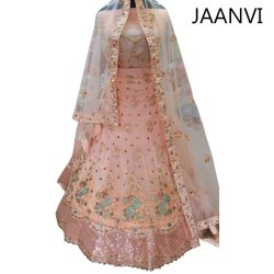 Satin Party Wear Ladies Embroidered Lehenga Choli, 2.5m