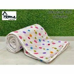 Printed White AC Dohar Blanket
