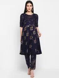 Party Wear Blue Navy Gold Foil Printed Rayon Anarkali Kurta With Pants Set