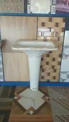 Ceramic White Floor Mounted Pedestal Wash Basin, For Bathroom