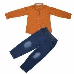 Printed Casual Wear Boys Shirt Jeans Set, Machine wash
