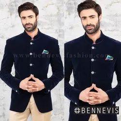 Wedding Plain Velvet Blue Mens Jodhpuri Suit