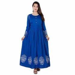 Anarkali Ladies Full Sleeve Blue Rayon Embroidered Kurti, Wash Care: Handwash