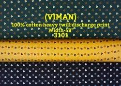 Viman 100% Cotton Heavy Twill Discharge Print Shirting Fabric