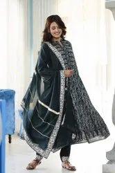 Stitched Palazzo Ladies Black Cotton Chikan Suits, Machine wash
