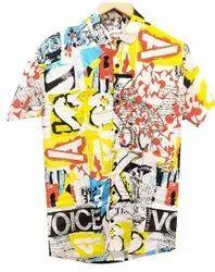 Collar Neck Mens Digital Printed Polyester Shirt, Size: 40