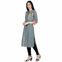 Aadga Collection Grey Colour Designer Kurti
