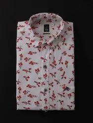 White Party Wear Printed Designer Shirt, Size: Medium