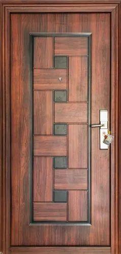Standard Brown Designer Wood Finish Steel Bedroom Door For Home Single Id 23307194730