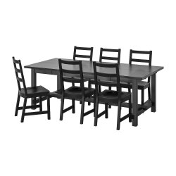 Home Texa 6 Seater Black Designer Dining Table Set