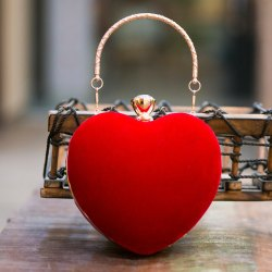 Heart Shaped Red Velvet Clutch For Valentine''s