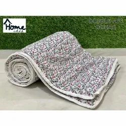 Grey Fabric Printed Double Bed AC Dohar Blanket