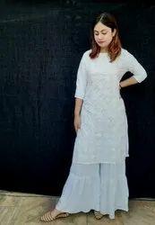 Ladies Sharara Suit White
