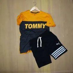 Men's Half Sleeve T Shirt + Short Cotton T Shirt And Shorts, Age Group: 15-45